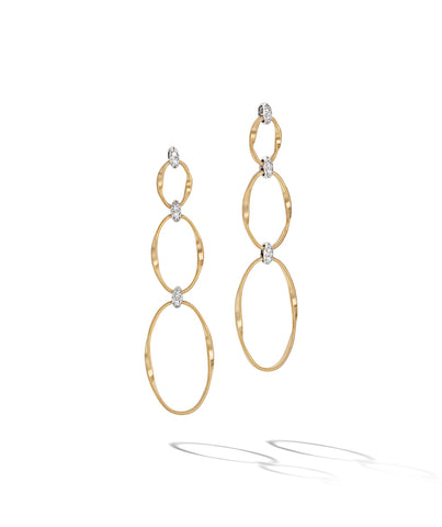 Marco Bicego® Marrakech Onde Collection 18K Yellow Gold and Diamond Flat Link Triple Drop Earrings