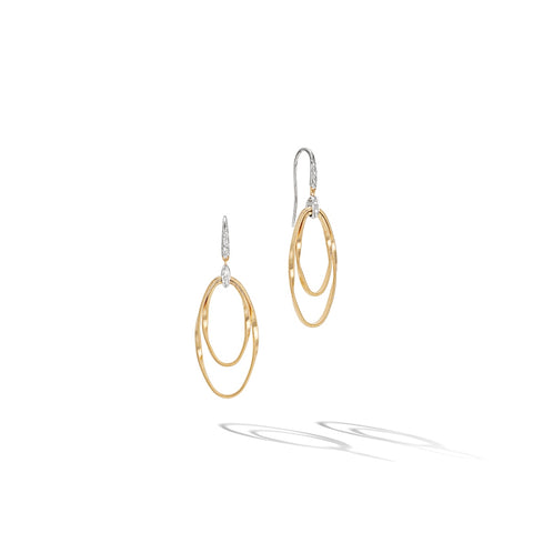 Marco Bicego® Marrakech Onde Collection 18K Yellow Gold and Diamond Double Concentric Hook Earring