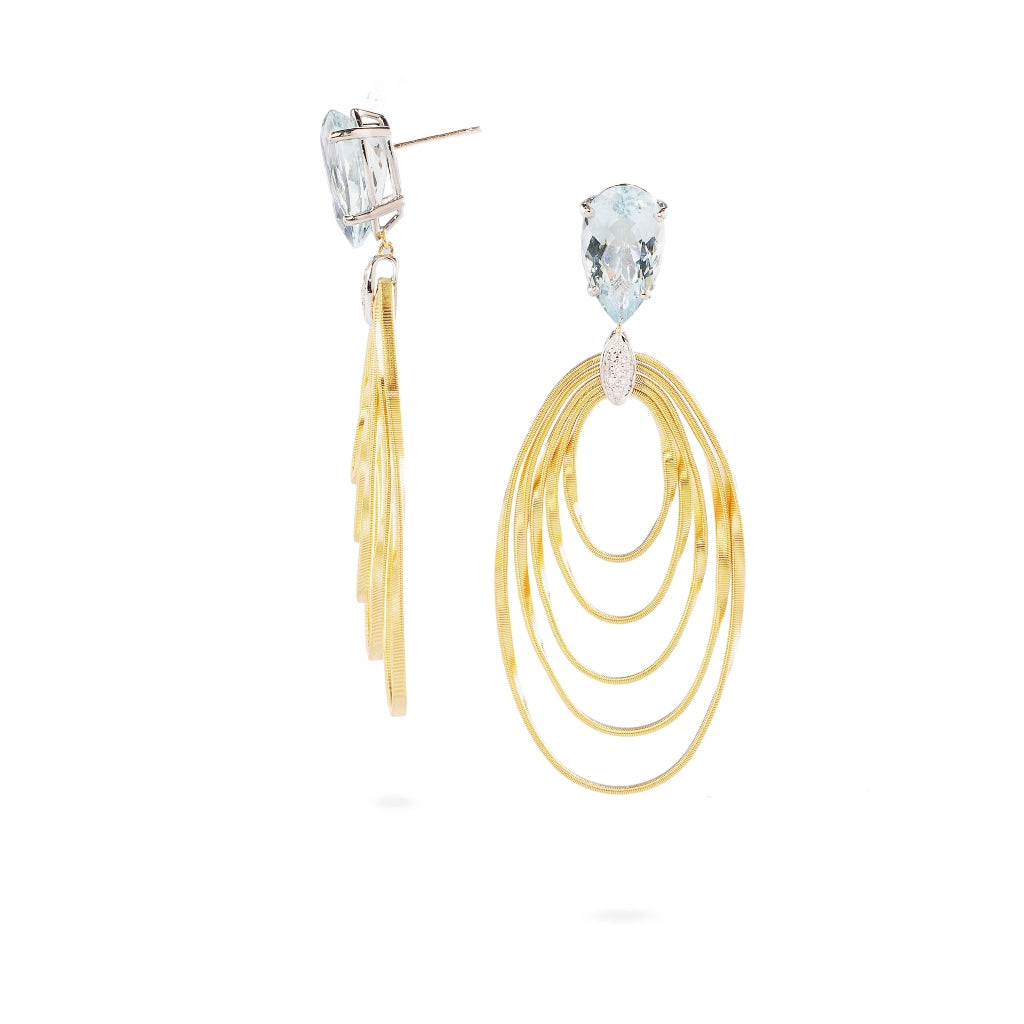 Marco Bicego® Unico Collection 18K Yellow Gold and Aquamarine Marrakech Onde Drop Earrings