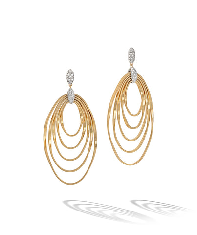 Marco Bicego® Marrakech Onde Collection 18K Yellow Gold and Diamond Large Concentric Earring