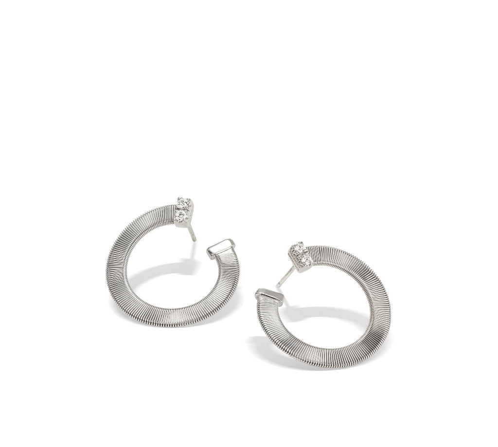 Marco Bicego® Masai Collection 18K White Gold and Diamond Small Wrap Hoops