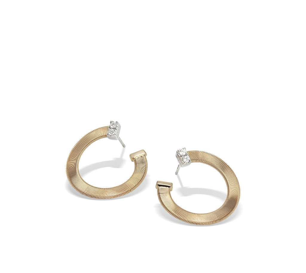 Marco Bicego® Masai Collection 18K Yellow Gold and Diamond Small Wrap Hoops