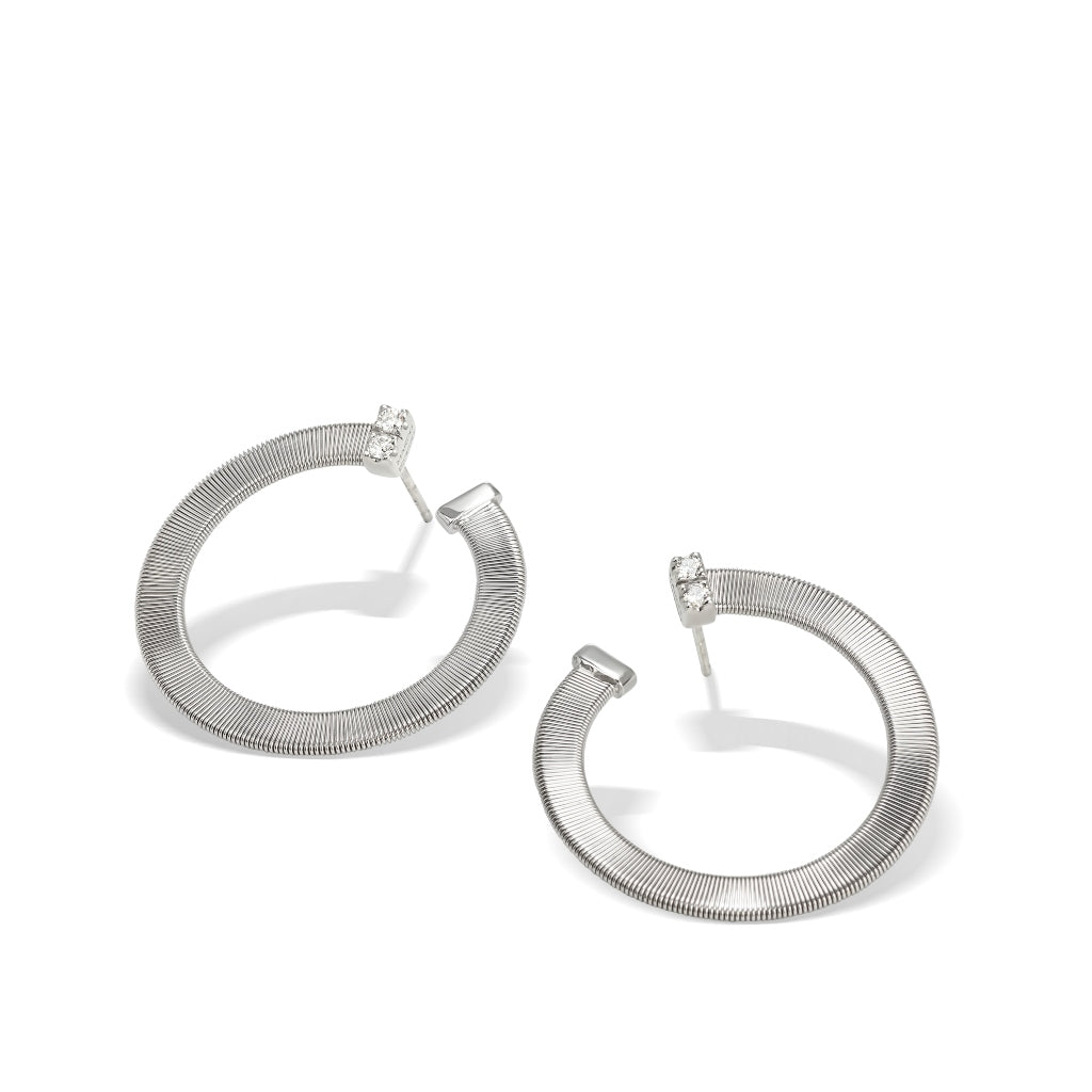 Marco Bicego® Masai Collection 18K White Gold and Diamond Large Wrap Hoops