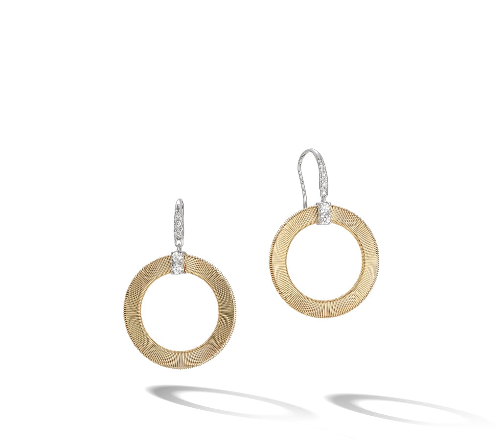 Marco Bicego® Masai Collection 18K Yellow Gold and Diamond Circle Drop Earrings