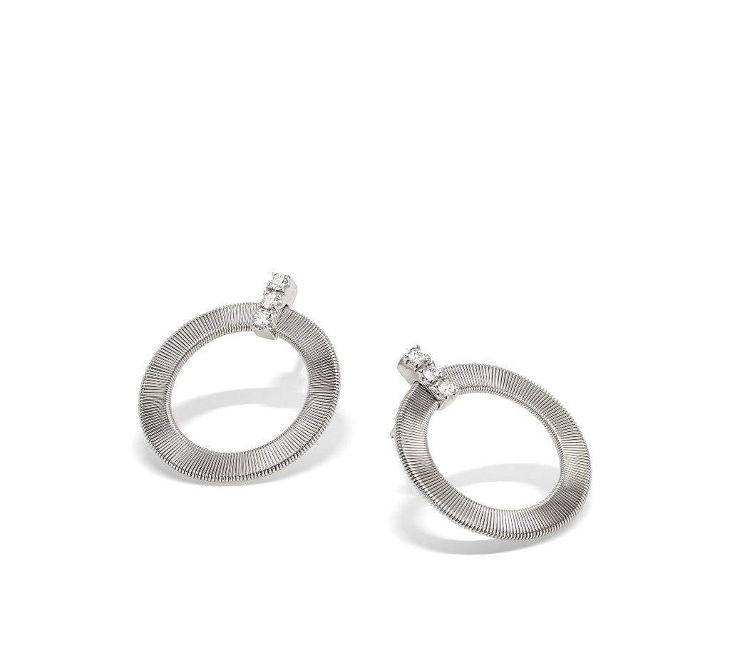 Marco Bicego® Masai Collection 18K White Gold and Diamond Front Facing Hoops