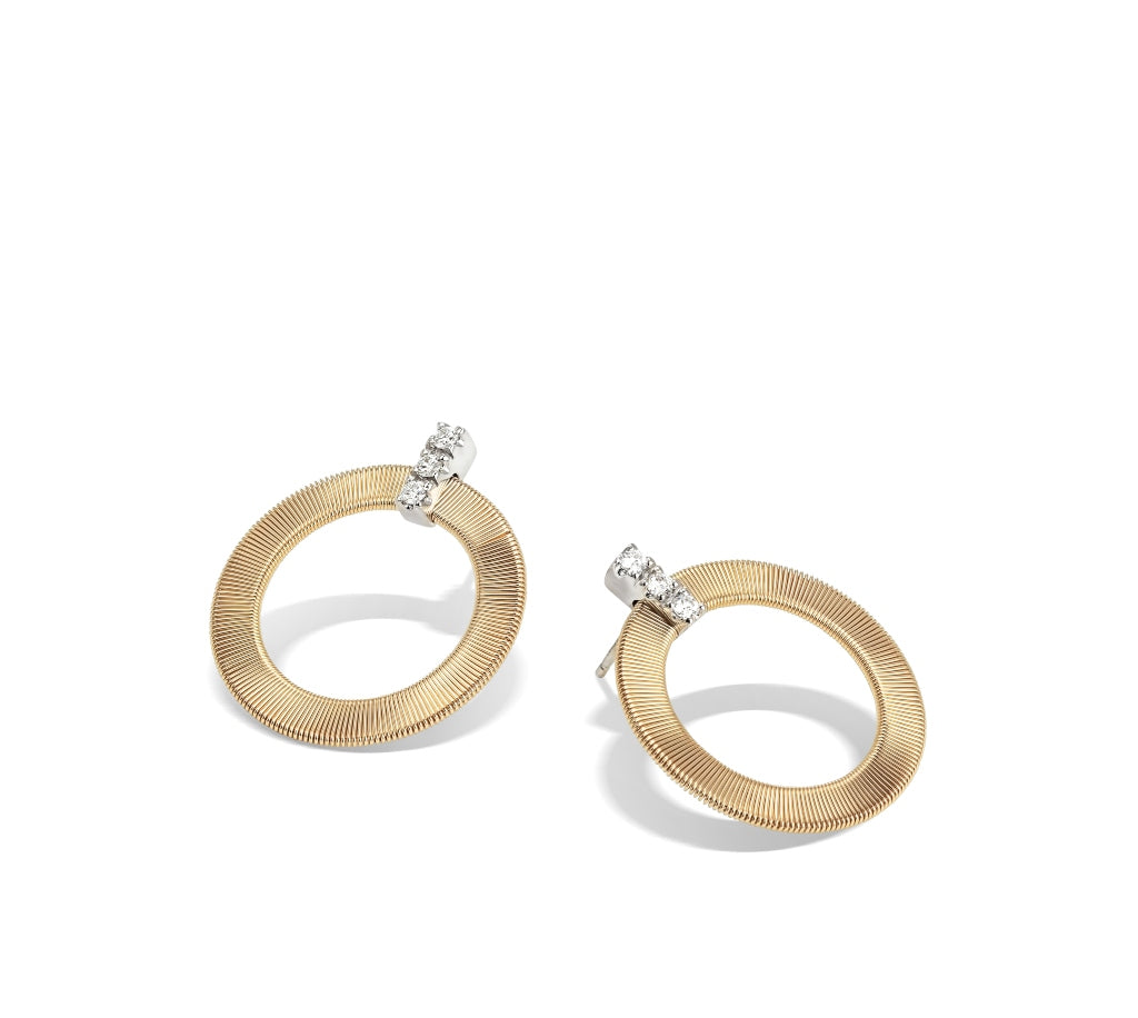 Marco Bicego® Masai Collection 18K Yellow Gold and Diamond Front Facing Hoops