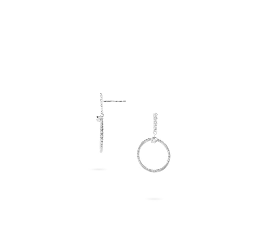 Marco Bicego® Bi49 Collection 18K White Gold and Diamond Small Circle Drop Earrings
