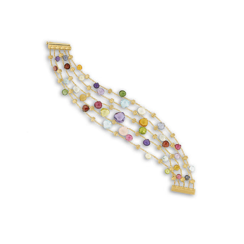 Marco Bicego® Paradise Collection 18K Yellow Gold Mixed Gemstone Five Strand Graduated Bracelet