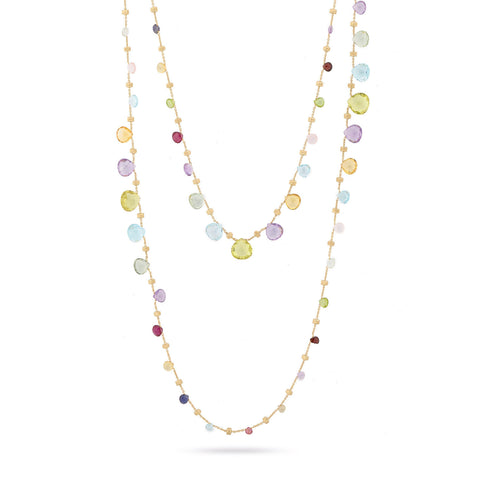 Marco Bicego® Paradise Collection 18K Yellow Gold Mixed Gemstone Triple Wave Necklace