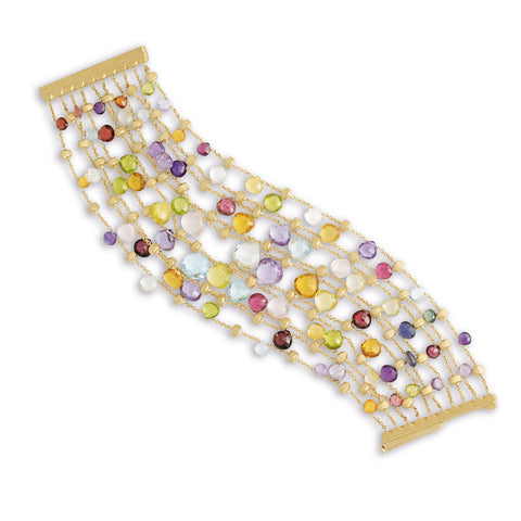 Marco Bicego® Paradise Collection 18K Yellow Gold Mixed Gemstone Ten Strand Graduated Bracelet