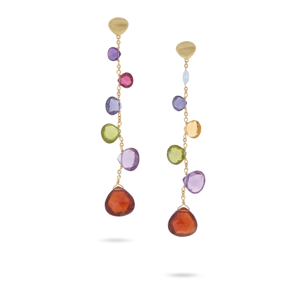Paradise Elevated Mixed Stone Single Strand Drop Earrings