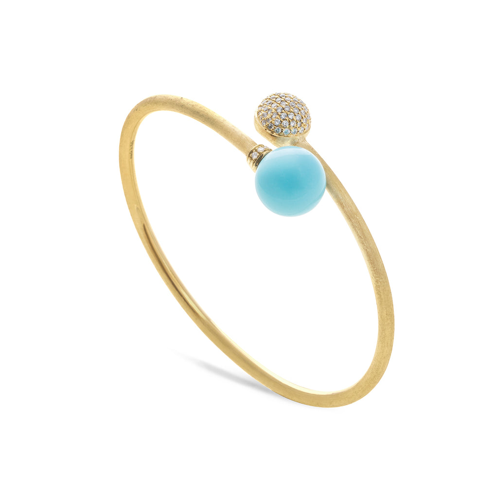 Africa 18K Yellow Gold Turquoise Hugging Bangle with Diamond Pave