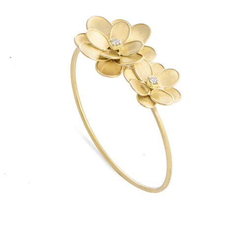 Marco Bicego® Petali Collection 18K Yellow Gold and Diamond Double Flower Bangle