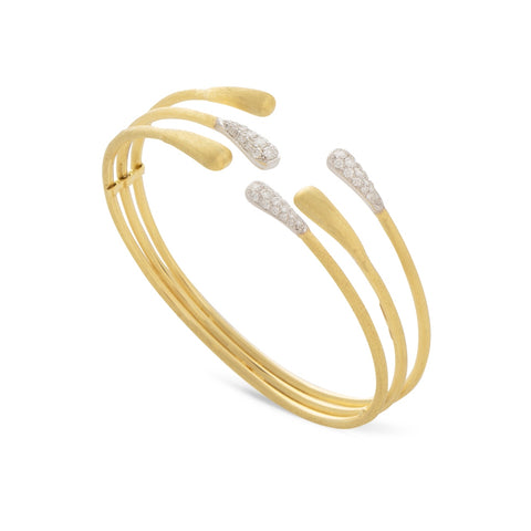 Marco Bicego® Lucia Collection 18K Yellow Gold and Diamond Three Row Cuff