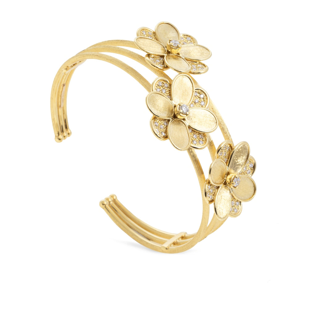 Marco Bicego® Petali Collection 18K Yellow Gold and Diamond Flower Cuff