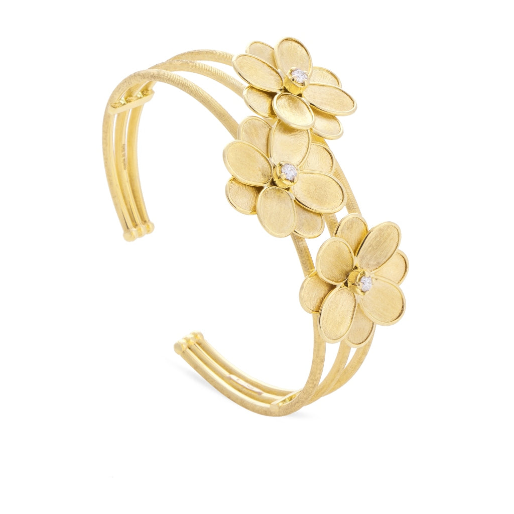 Marco Bicego® Petali Collection 18K Yellow Gold and Diamond Triple Flower Cuff