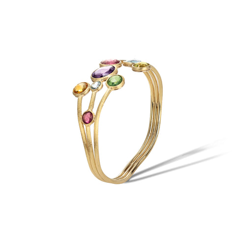 Marco Bicego® Jaipur Color Collection 18K Yellow Gold Mixed Gemstone Three Row Bangle