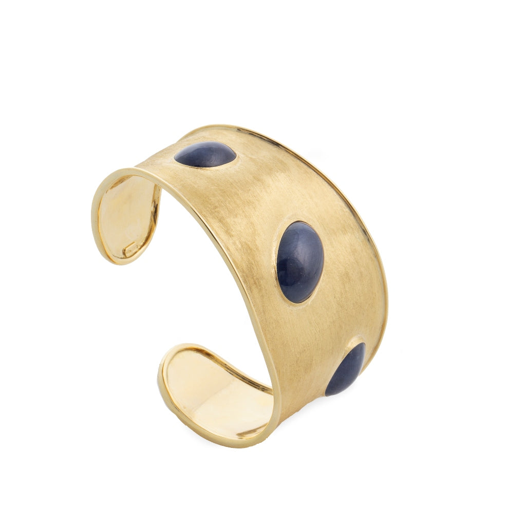 Marco Bicego® Unico Collection Lunaria 18K Yellow Gold and Blue Sapphire Cuff