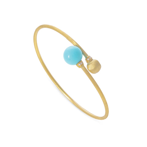 Africa Turquoise Yellow Gold and Turquoise Kissing Bangle with Diamond Pave