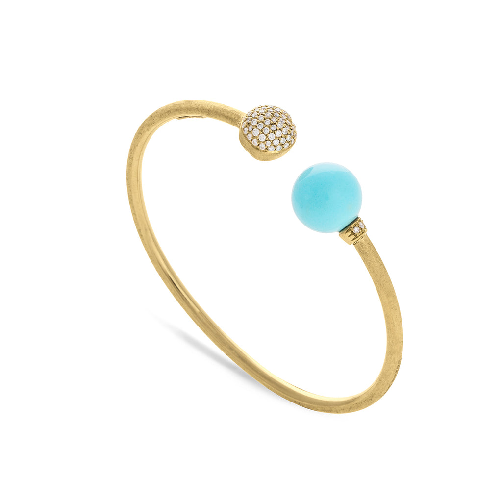 Africa 18K Yellow Gold and Turquoise Kissing Bangle with Diamond Pave