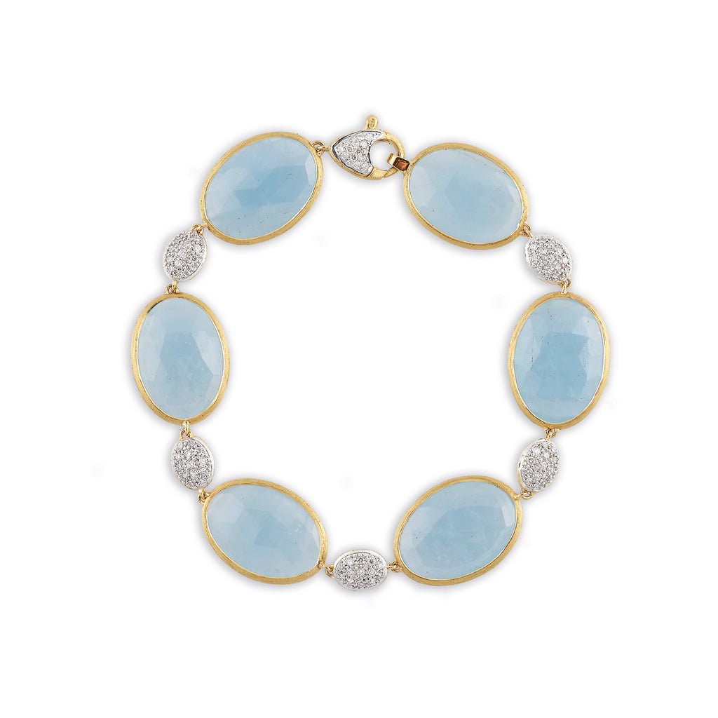 18K Gold Aquamarine & Diamond Bracelet