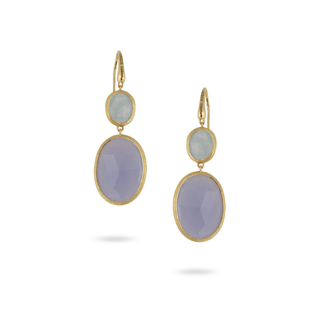18K Gold Chalcedony & Aquamarine Earrings