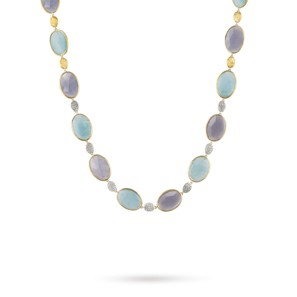 18K Gold Chalcedony & Aquamarine Necklace