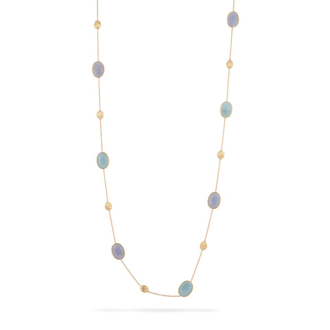 Siviglia Aquamarine & Chalcedony Long Necklace