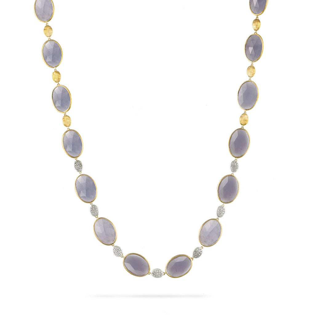 18K Gold Chalcedony & Diamond Necklace