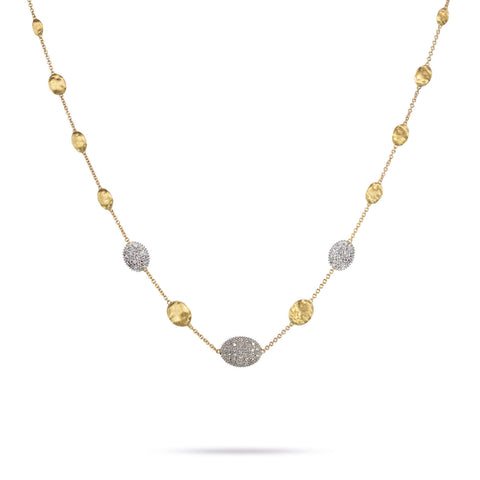 Siviglia Gold Bead & Three Diamond Pave Station Short Necklace
