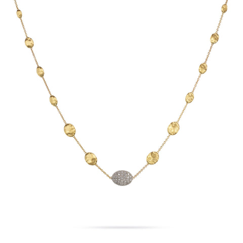 Siviglia Gold Bead & Diamond Pave Center Station Short Necklace