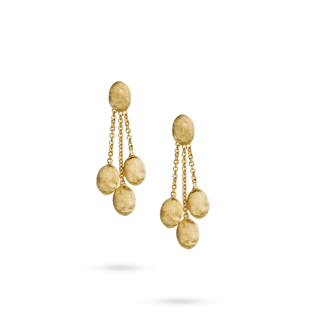 18K Gold Three Strand Earrings