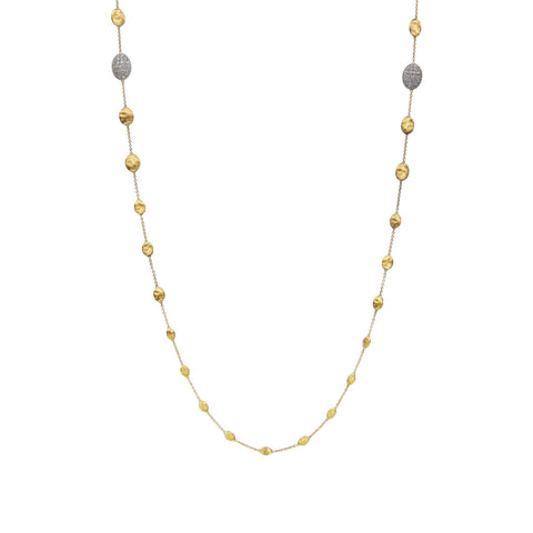 Marco Bicego® Siviglia Collection 18K Yellow Gold and Two Diamond Stations Long Necklace