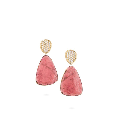 Marco Bicego® Unico Collection 18K Yellow Gold Pink Tourmaline and Diamond Earrings