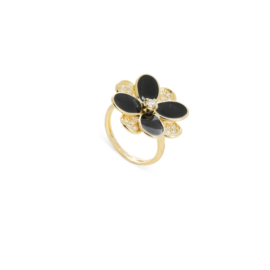 Marco Bicego® Petali Collection 18K Yellow Gold Black Enamel and Diamond Pave Ring