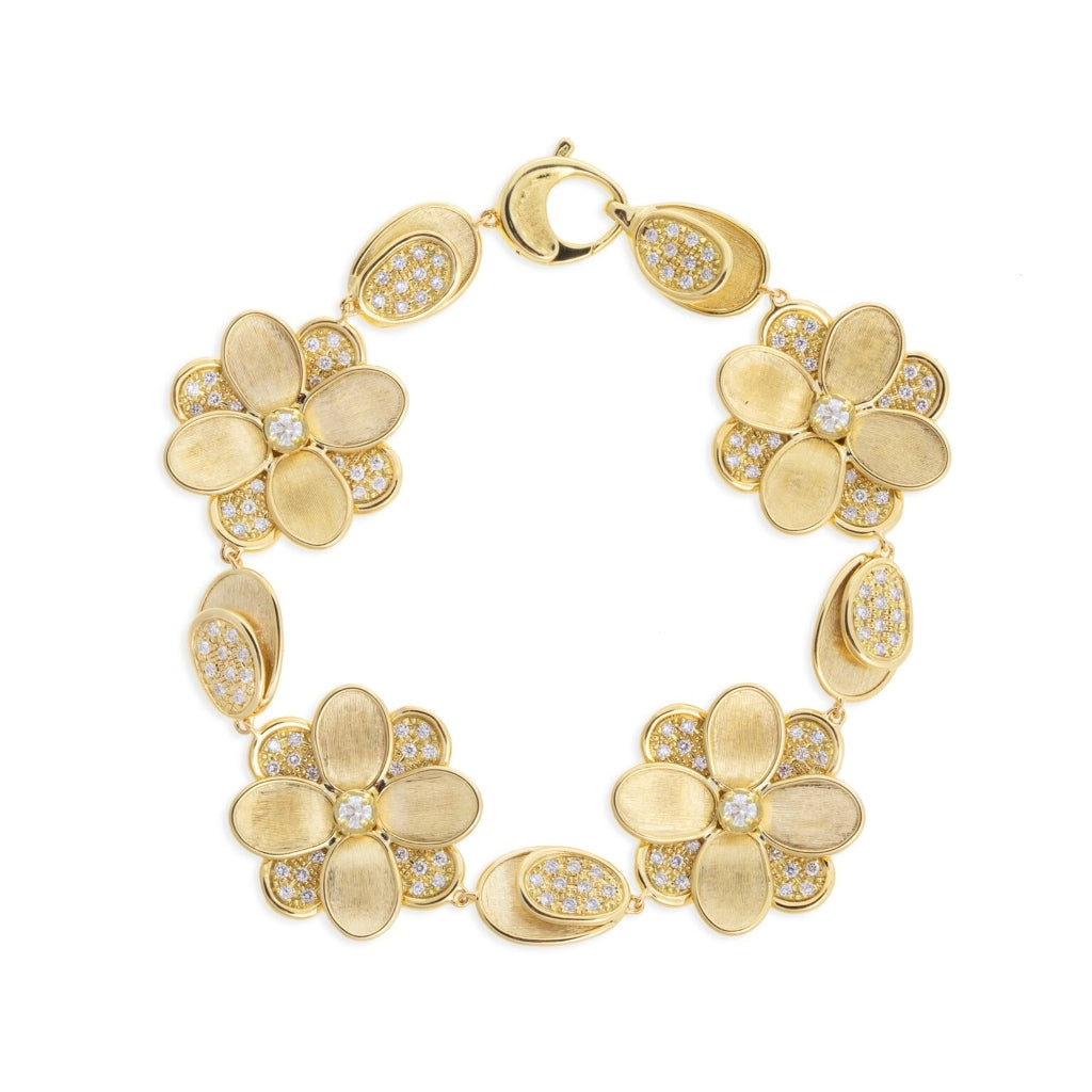 Marco Bicego® Petali Collection 18K Yellow Gold and Pave Flower Bracelet