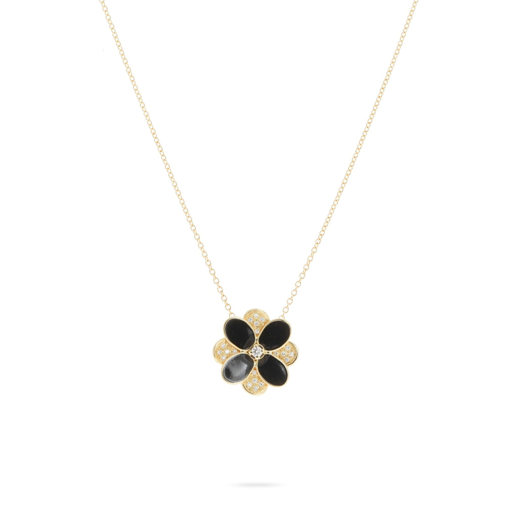 Marco Bicego® Petali Collection 18K Yellow Gold Black Enamel and Diamond Pave Pendant