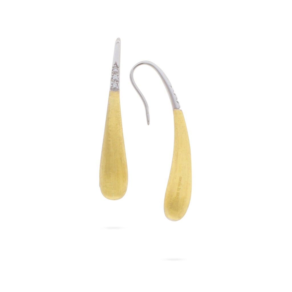 Marco Bicego® Lucia Collection 18K Yellow Gold and Diamond Small Modern Teardrop Earrings