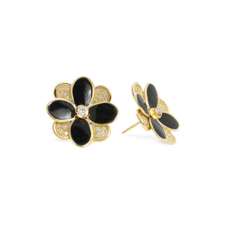 Marco Bicego® Petali Collection 18K Yellow Gold Black Enamel and Diamond Pave Stud Earrings