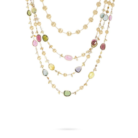 Marco Bicego® Unico Collection 18K Yellow Gold Mixed Tourmaline and Diamond Convertible Necklace