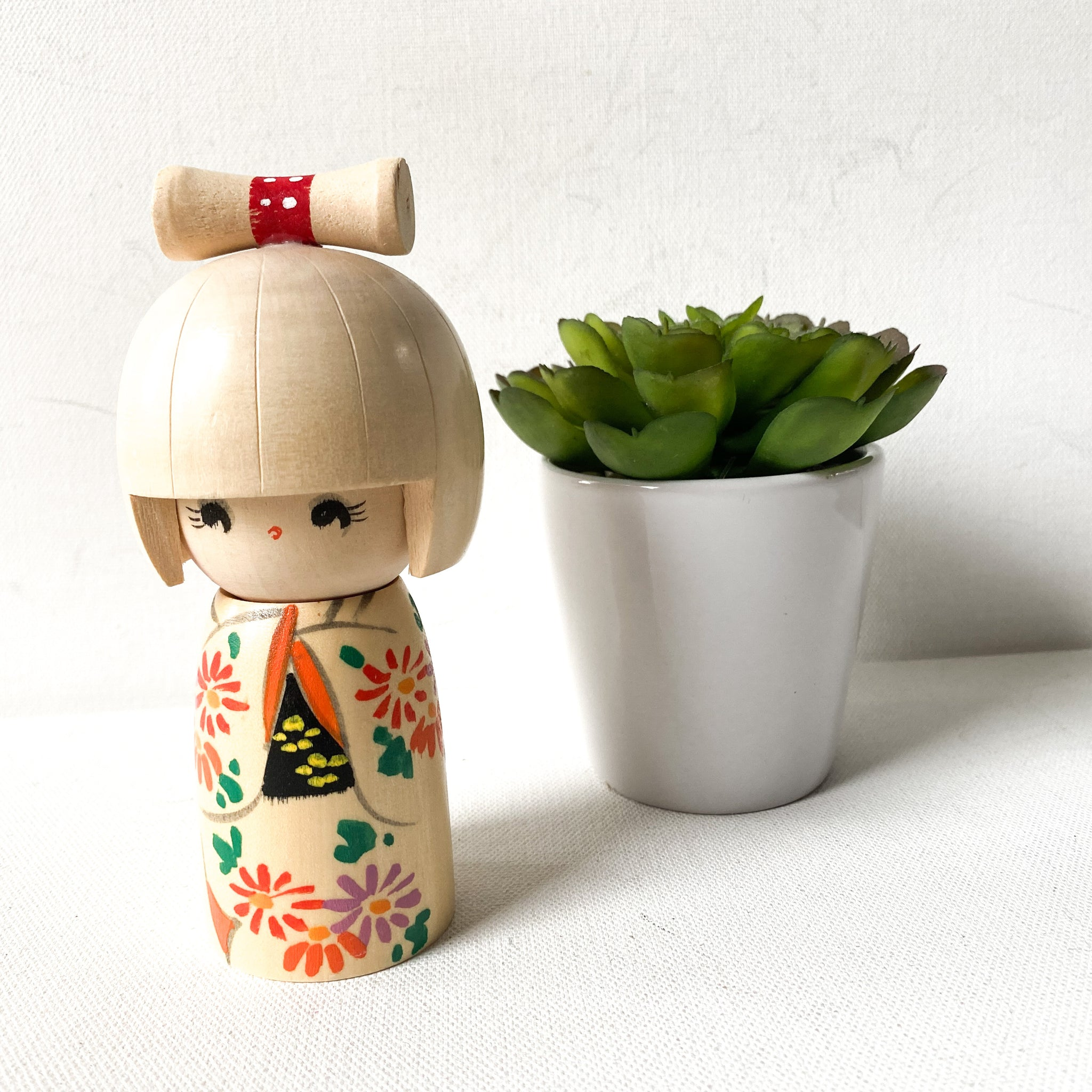 Vintage Japanese Kokeshi Collectible Doll, Painted Wood