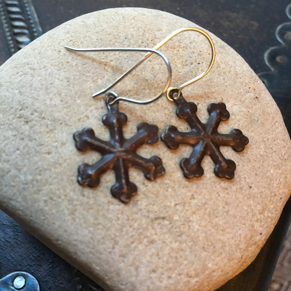Rustic Snowflake Earrings
