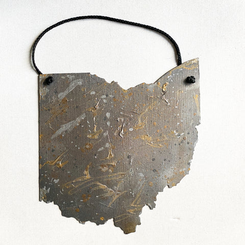 Mixed Metallics Hand Painted Steel Ohio wall art