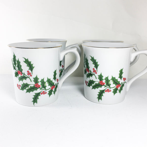 Set of four vintage porcelain holiday mugs, the Trimmings, Christmas Decor