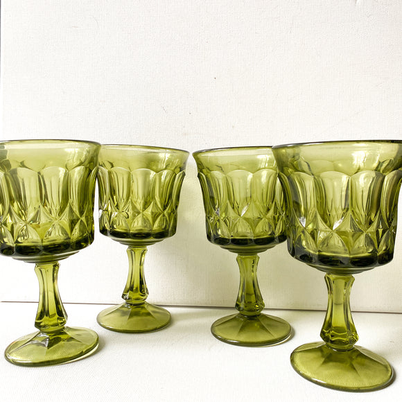 Vintage Noritake Perspective Olive Green Goblets, set of 4 glasses