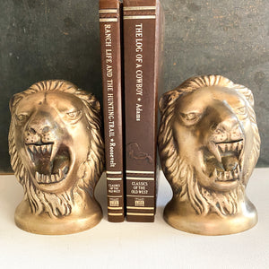 Vintage Brass Lion Head Bookends