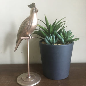 Vintage Brass Parrot / Cockatiel on Perch