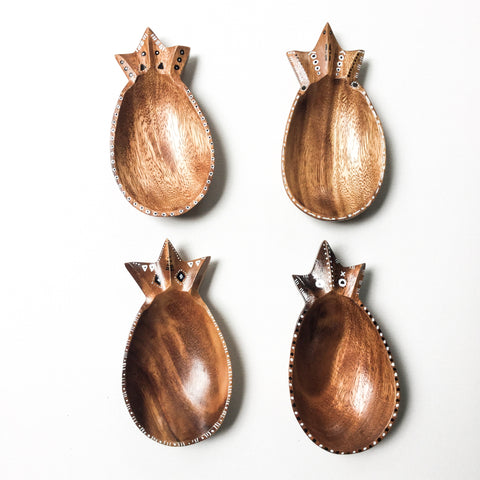 Mini Wood Pineapple Dishes - set of 4