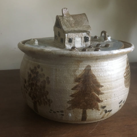 Studio Pottery Lidded Bowl - House in the woods motif