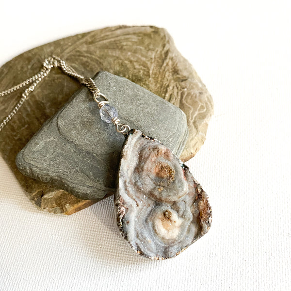 Long Gray Druzy Necklace